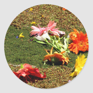 Colorful scenery of forgotten flowers classic round sticker