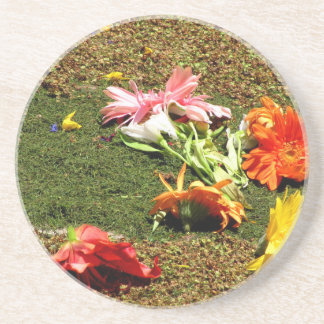 Colorful scenery of forgotten flowers drink coaster