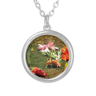 Colorful scenery of forgotten flowers silver plated necklace
