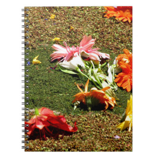 Colorful scenery of forgotten flowers spiral notebook