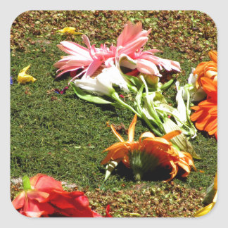 Colorful scenery of forgotten flowers square sticker