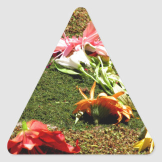Colorful scenery of forgotten flowers triangle sticker
