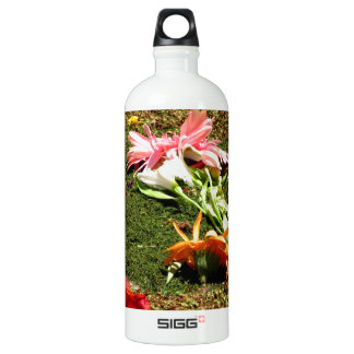Colorful scenery of forgotten flowers water bottle