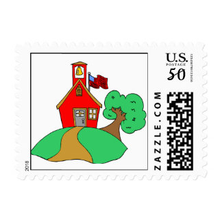 Colorful School Drawing Postage