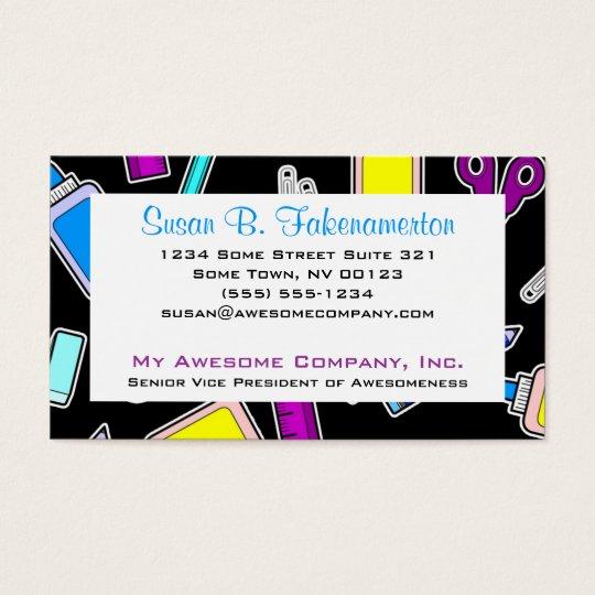 Colorful School Supplies on Black Business Card