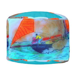 colorful schooners round poof round pouf