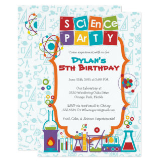 Colorful Science Themed Party Invitation