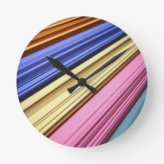Colorful scrapbook papers round wallclocks