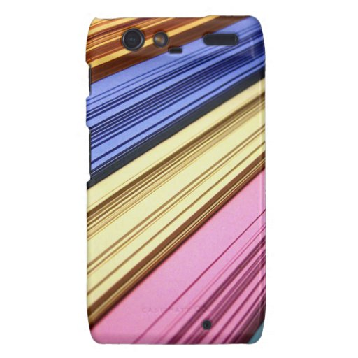 Colorful scrapbook papers droid RAZR cover