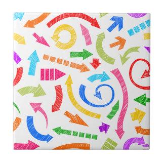 Colorful scribbled arrows ceramic tiles