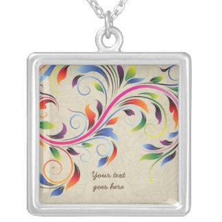 Colorful scroll leaf, beige floral silver necklace