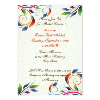 Colorful scroll leaf ecru wedding bridal shower 5x7 paper invitation card