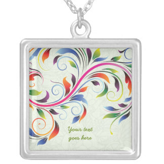 Colorful scroll leaf, lime floral silver necklace