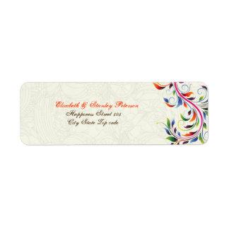 Colorful scroll leaf on ecru wedding label