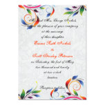 """Colorful scroll leaf on grey wedding invitation 5"""" x 7"""" invitation card"""