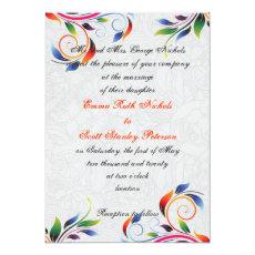 Colorful scroll leaf on grey wedding invitation 5