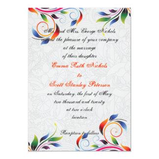 Colorful scroll leaf on grey wedding invitation