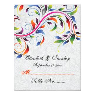 Colorful scroll leaf on grey wedding place card