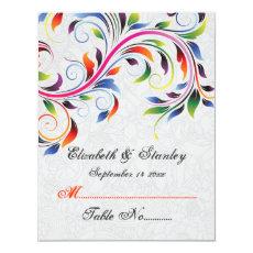 Colorful scroll leaf on grey wedding place card 4.25