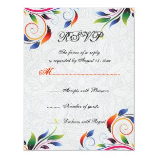 Colorful scroll leaf on grey wedding RSVP card