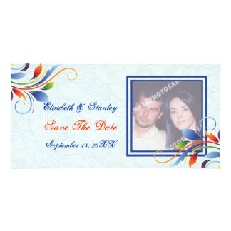 Colorful scroll leaf pale blue Save the Date Card