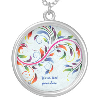 Colorful scroll leaf pale blue silver necklace
