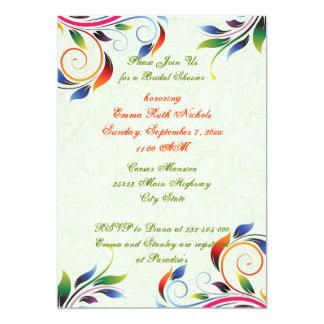 Colorful scroll leaf pale lime bridal shower 5x7 paper invitation card