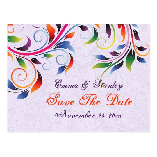Colorful scroll leaf purple wedding Save the Date Postcard