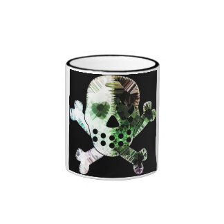 Colorful Scull on black background Coffee Mugs