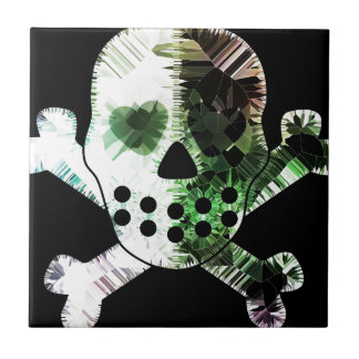 Colorful Scull on black background Tile