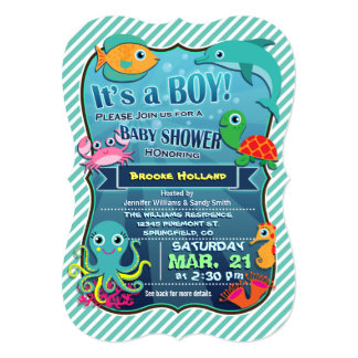 Colorful Sea Creatures; Boy Baby Shower Invitation
