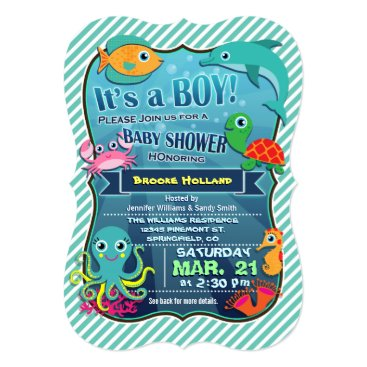 Toddler & Baby themed Colorful Sea Creatures; Boy Baby Shower Invitation