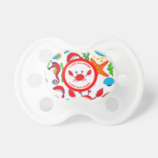 Colorful Sea Creatures Pattern Featuring Sea Crab Pacifier