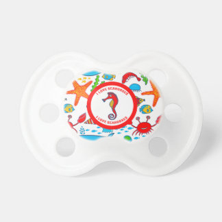 Colorful Sea Creatures Pattern Featuring Sea Horse Pacifier