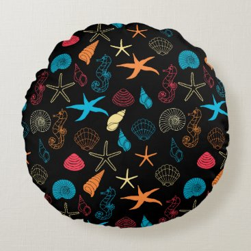 Beach Themed Colorful Sea Creatures Round Pillow