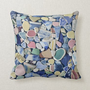 Beach Themed Colorful sea glass beach pottery photo square throw pillow