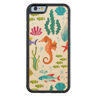 Colorful Sea-Life & Animals pattern Carved Maple iPhone 6 Bumper Case
