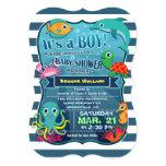 "Colorful Sea Life Boy Baby Shower Invitation 5"" X 7"" Invitation Card"