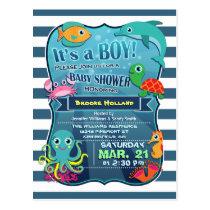 Colorful Sea Life Boy Baby Shower Invitation Postcard