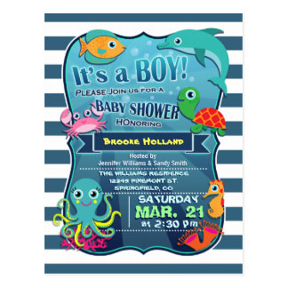 Colorful Sea Life Boy Baby Shower Invitation Postcard