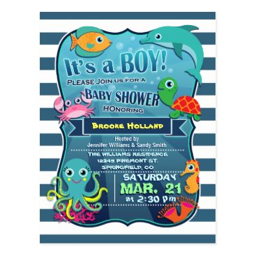 Toddler & Baby themed Colorful Sea Life Boy Baby Shower Invitation Postcard