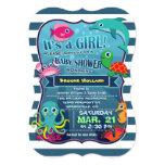 "Colorful Sea Life Girl Baby Shower Invitation 5"" X 7"" Invitation Card"