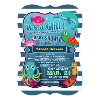 Colorful Sea Life Girl Baby Shower Invitation