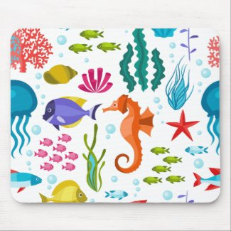 Colorful sea-life illustration mouse pad