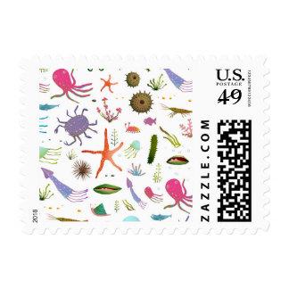 Colorful Sea Life Postage Stamp
