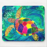 Colorful Sea Turtle Mouse Pad
