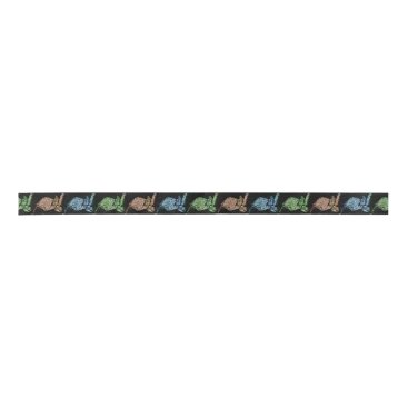 Colorful Sea Turtle Patterned Satin Ribbon
