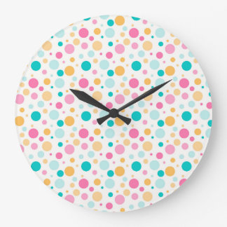 Colorful Seamless Dots Pattern Wall Clock