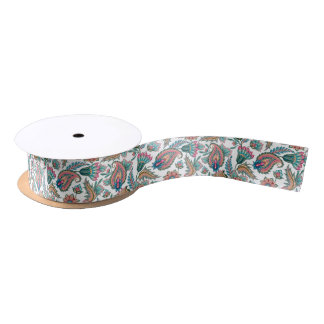 Colorful Seamless Paisley Pattern Satin Ribbon