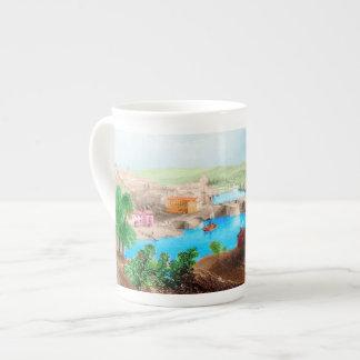 Colorful Seaport Scene Bone China Mug
